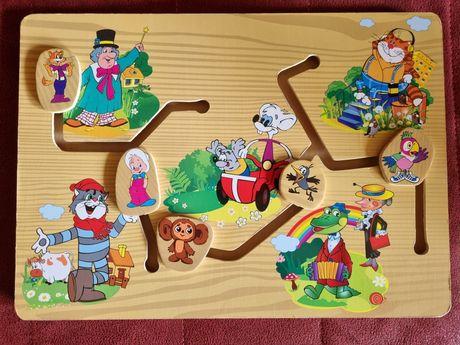 Развивающий лабиринт для детей Игра от 1 года до 4 лет Часы дата