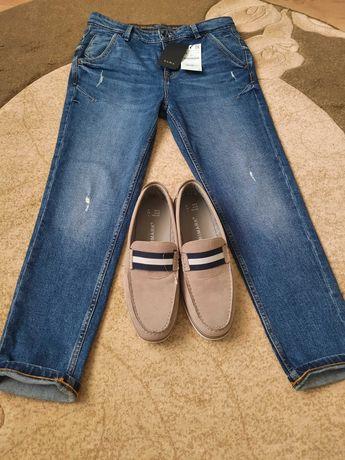 Туфли слипоны макасины PRIMARK и джинсы ZARA комплект набор