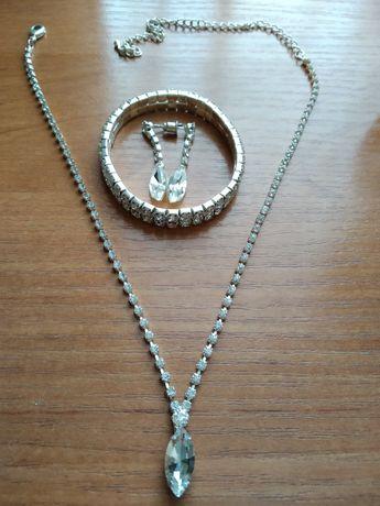 Свадебный набор (серёжки,колье,браслет)