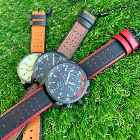 Мужские часы Curren кожзам черные коричневые чоловічий годинник каррен