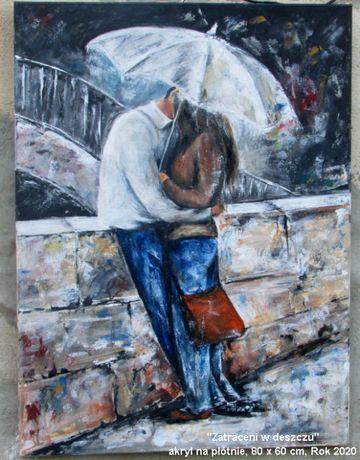 """""""Zakochani"""" obraz duży. Oryginalny prezent na lata. Urodziny, ślub..."""