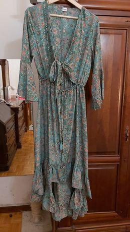 Vestido tecido tipo seda