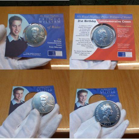 Юбилей 5 фунтов 2003 принц Уильям 21-летие Англия 5 крон альбом