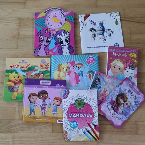 Książki kubus puchatek, kolorowanki, księżniczki kucyki pony
