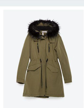 Kurtka parka Zara S 36 UK 8 kożuch baranek płaszcz kozuszek khaki