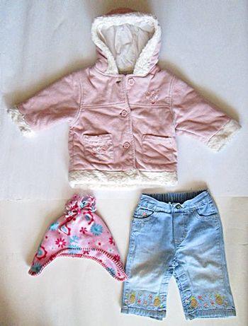 Kurtka kurteczka spodnie jeans czapka do 68 ZESTAW 3 szt