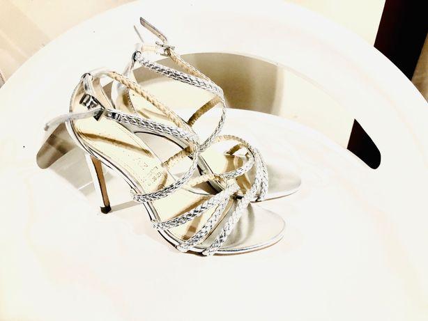 szpilki buty eleganckie srebrne 36 JAK NOWE okazja!