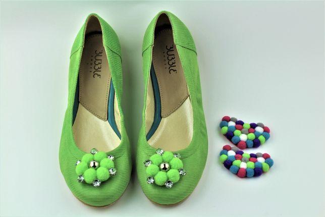 Buty baleriny skórzane Bubble Shoes r.36 zielone