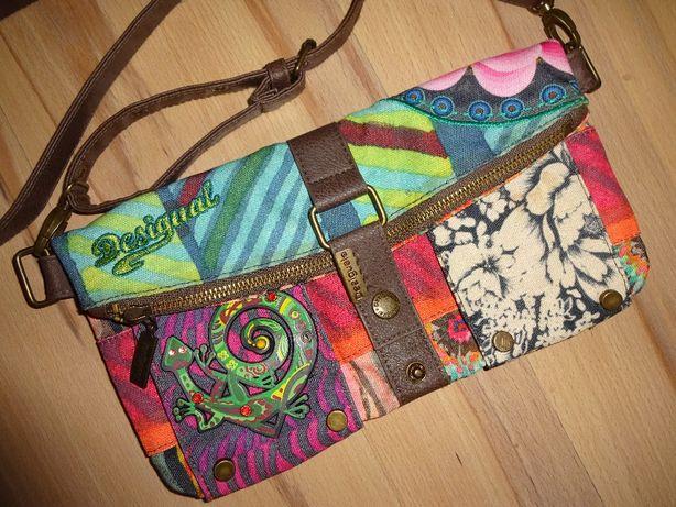 OKAZJA jak nowa DESIGUAL oryginalna kolorowa torba torebka listonoszka