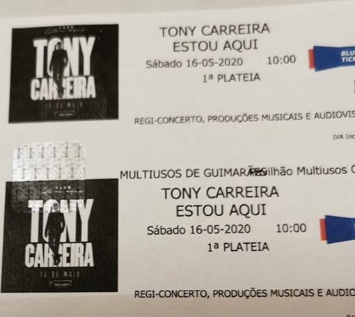 Bilhetes Tony Carreira - Estou aqui
