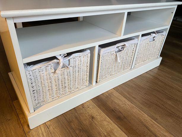 Biała szafka z koszami, pod tv, dekoracyjna