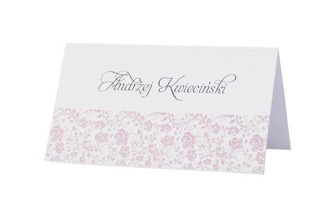 Winietki, wizytówki na stół weselny – kolekcja FLORAL RÓŻ - 6 szt