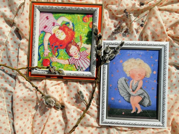 Гапчинська вышивка бисером картина дети ангелочки
