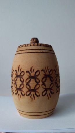 Pojemnik, beczka drewniana, wzór wypalany - miniaturka, Vintage - PRL