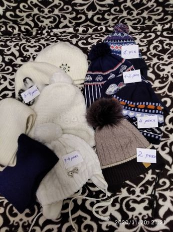 Шапка зимняя + шарф в подарок (на девочек и мальчиков)