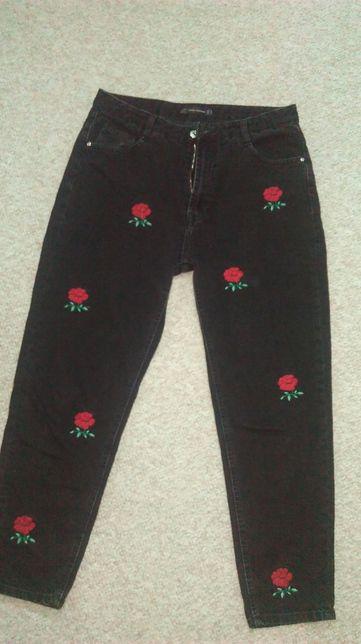 Zara jeansy,spodnie w róże 42