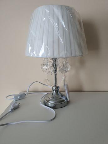 Lampa stołowa nocna serca kryształki nowa