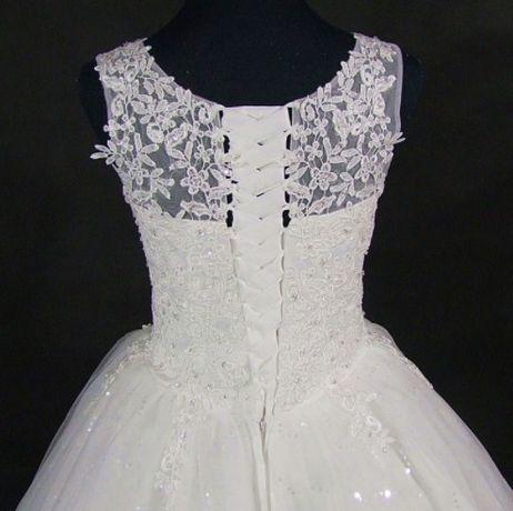 suknia ślubna princessa koronka wiązanie 36 38, 40 42 44, 46 48, 50 52
