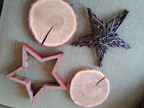 Новогодний декор, звезда дерево, срубы. Набор.
