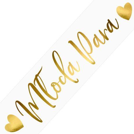 Młoda Para - złoty napis na białym tle- tablice na samochód-ślub/wesel