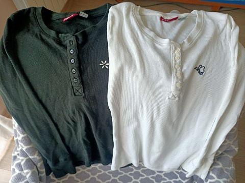 2 bluzki dziewczęce Pepperts 134/140, czarna i biała