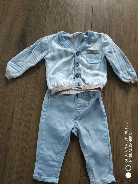 Spodenki jeansowe 3-6 mies. Błękitne. Sweterek gratis komplet