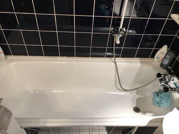 Wanna stalowa emaliowana + bateria wannowa z prysznicem