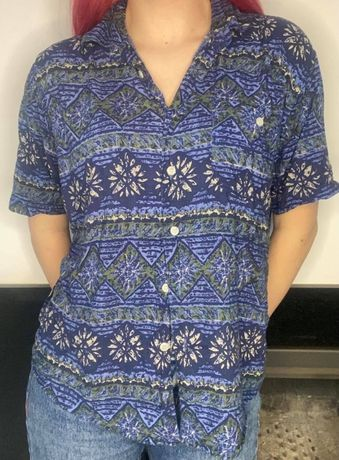 koszula hawajska lato hippie lekka S wzory granatowa vintage niebieska