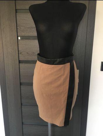 Asymetryczna spódnica mohito beżowo czarna skóra s 36