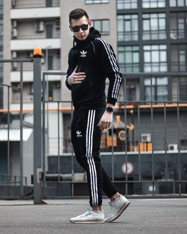 Спортивный костюм ЗИМНИЙ Adidas мужской трикотажный на флисе теплый