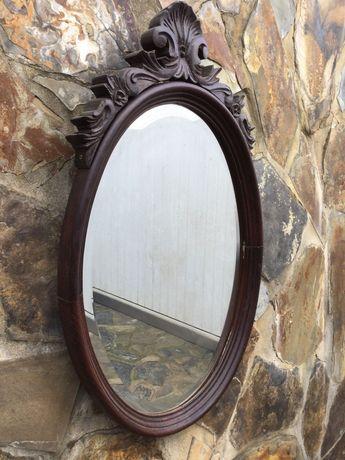 Espelho de Madeira entalhada de Pau Santo Antigo 88 cm