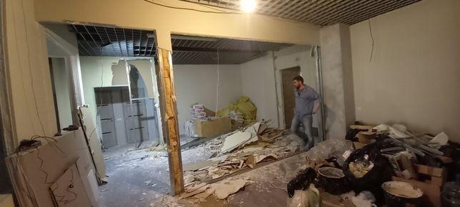 Демонтаж стен,пола,паркета,дверей,потолков