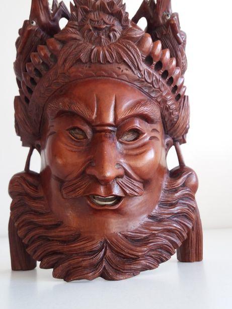 Maska rzeźba antyk chiński wojownik z palisandru
