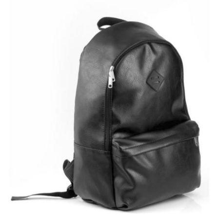 Рюкзак черный мужской из Экокожи -Городской кожаный портфель