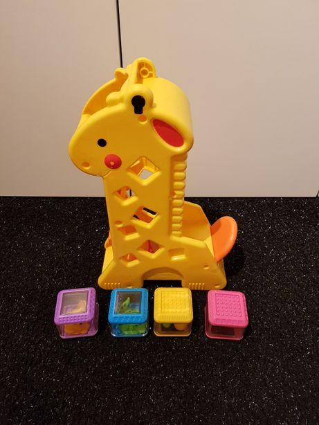 Fisher Price żyrafa z 4x klockami