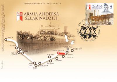 FDC z FI-5098 - Armia Andersa - Szlak Nadzei