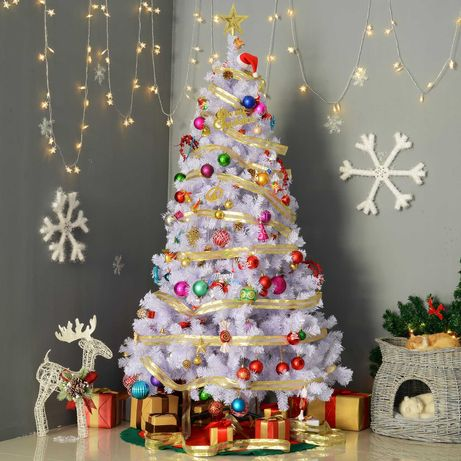 Árvore de Natal Branco Φ105x180cm com enfeites