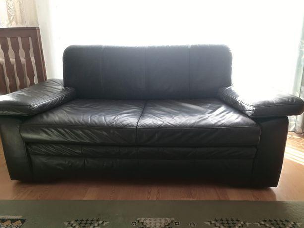 Kanapa skórzana, sofa, skóra naturalna ciemny brąz, 2/3 osobowa
