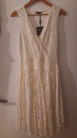 Sukienka kremowa Massimo Dutti r.L