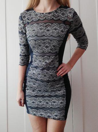 Elagancka sukienka 38 M wesele koronka koronkowa granatowa mini