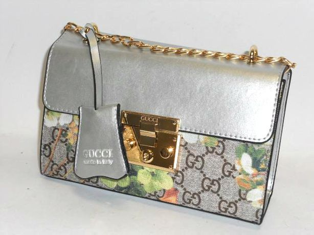 GUCCI mała srebrna torebka kopertówka damska Kwiaty
