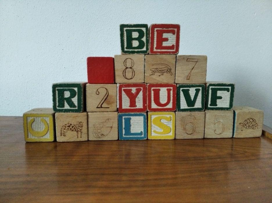 Drewniane klocki edukacyjne dla dzieci cyfry liczby zwierzęta Krupin - image 1