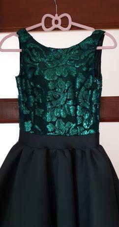 Sukienka mini, butelkowa zieleń. Cekiny r.34 XS
