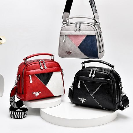 Женская разноцветная сумочка на плечо мини сумка красная черная белая