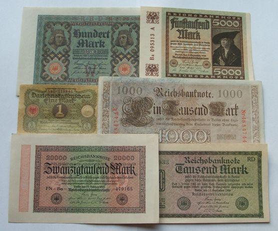 Banknoty NIEMCY STARE - Z PACZKI BANKOWEJ - Zestaw Kolekcjonerski