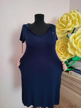 Большой размер 52-54 легкое летние платья с капюшоном Сарафан