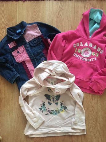 Bluza jeansowa , polarek z kapturem i bluza H&M 98/104