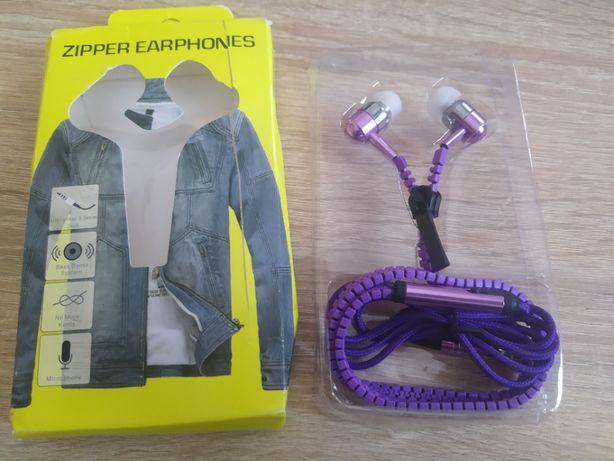 Наушники молния Zipper Earphones фиолетовые с микрофоном