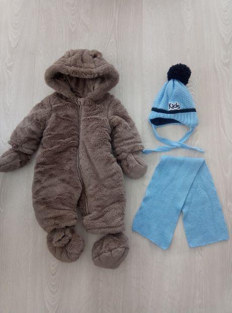 Kombinezon zimowy miś Mothercare + czapeczka z szalikiem