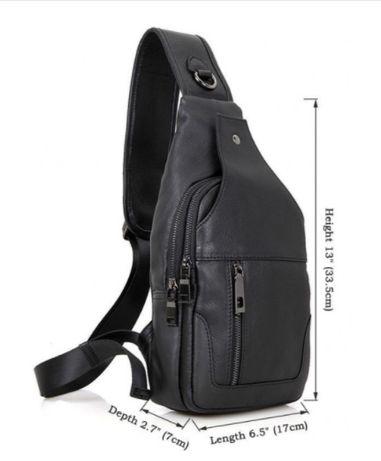 Мужская кожаная сумка-слинг/на грудь/на плечо/рюкзак/бананка